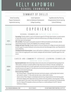 graphic resume sample for school counselor #resume #template #2017