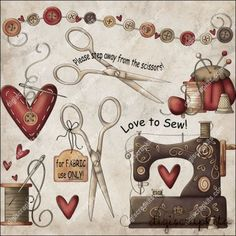 Love to Sew 1 Clip Art Set