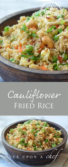 "Cauliflower Fried Rice - Replace soy sauce with coconut amines for Whole30. Pinner: ""I cut back on the soy sauce to 3tbsp with option to add more, and I doubled the ginger."""