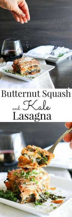 Festive, nourshing, hearty and creamy; Vegetarian Butternut Squash and Kale Lasagna | Vanilla And Bean