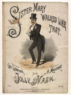Colour songsheet cover for Sister Mary Walked Like That, by Gus Levaine and A. Massage.    19th century print    American