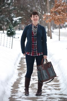 Already Pretty outfit featuring navy blazer, plaid shirt, statement necklace, skinny jeans, Frye Vera Slouch boots, J.W. Hulme bag