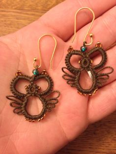 Handmade needle tatted owl earrings by CrafteroniNCheese.