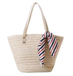 Tonwhar® Pastoral Style Wheat Straw and Hemp Woven Bag Large Beach Tote Bags