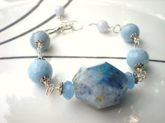 Blue Lace Agate  Beadwork Bracelet  Blue by austinleighdesigns, $40.75