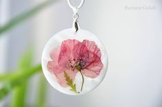 Mother-of-Pearl pendant with real dried poppy flower Floral jewelry Epoxy resin Sea shell art Gift for mom Unique botanical necklace for her by ArtRushka on Etsy