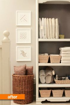 "Tip of the Day: Hosting overnight guests? Create a ""guest space"" by stocking a bookshelf with all the essentials your guests need to feel right at home."