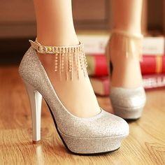 Colour:Silver  Material:PU  Size:34/35/36/37/38/39      These+shoes+are+manufactured+to+an+excellent+standard!+The+rhinestone+tassels++are+strongly+bonded+to+the+fabric+and+the+sole+is+robust.+The+platform+height+is+1.2++inches+while+the+heel+height+is+4.7+inches.+Perfect+for+that+special+occasio...