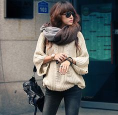 large sweaters and scarves