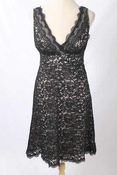 edfb5b991a37 Details about Banana Republic Silk Dress Size 4 Black White Cap Sleeves  Empire Waist A-Line