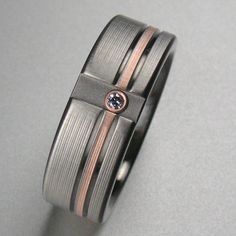Mens Offset Rose Gold Diamond Wedding Band in Titanium made by Spexton.com