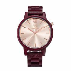 Naladoo Men's Zebra Wooden Quartz Watch Retro Natural Bracelet Watch(2016) (Wine Red) - Brought to you by Avarsha.com