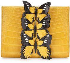 Nancy Gonzalez Butterfly Crocodile small clutch
