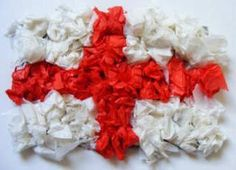 Make St George's Day Flag Collage - you just need red tissue, white tissue and PVA - all available at www. Eyfs Activities, Nursery Activities, Nursery Crafts, Toddler Crafts, Crafts For Kids, St George Flag, Saint George And The Dragon, Saint David's Day, St Georges Day