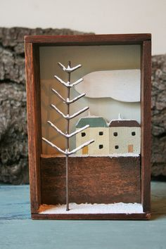 Little Winter Houses. Snowy Shadow Box. I like this idea, I could see a series of them 1 for each season ;)