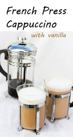 Vanilla French Press Cappuccino This vegan-friendly French Press Cappuccino is flavored with vanilla extract, topped with frothed milk or coconut milk, and is ready in about 5 minutes! No espresso-maker required. Vanilla Recipes, Coffee Recipes, Tea Recipes, Fingers Food, Cappuccino Machine, Champagne Taste, I Love Coffee, Coffee Coffee, Coffee Beans