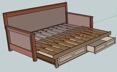 3 Wondrous Tips: Futon Chair Inspiration futon sofa diy.Leather Futon Home futon frame design.Leather Futon Home. Diy Sofa, Diy Daybed, Sofa Bed, Futon Bedroom, Futon Bed Frames, Bed Slats, Sofa Frame, Plywood Furniture, Furniture Projects