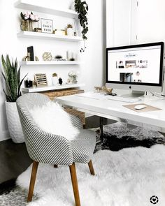 Modern monochromatic office with pops of wood and green - onclosetnine office tour