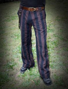 Phat Stripe Brown & Black Twill Pants with studded by LooseLemur