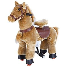 mofawangzi Saddle-Less Rocking Ride on Mini Donkey Toys Walking Horse Cycle Toy with Wheels and Foot Rest Without Battery or Electricity Mechanical for 3-5 Age