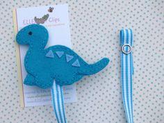 Felt Dinosaur Pacifier Clip - Turquoise - Baby Dino -  Baby Felt Pacifier Clip. $8.95, via Etsy.