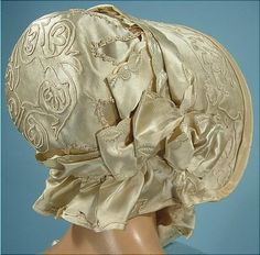 1845 wedding bonnet-had to add this to the brides.  I have never seen a wedding bonnet!