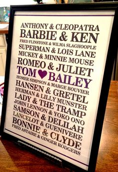 Custom/Personalized Famous Couples Poster Print 11x14 - Rustic Vintage Wedding or Bridal Shower - Bride Groom His Hers Name Love