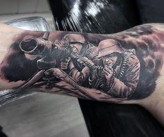 Inner Arm Bicep Realistic Ww2 Machine Gun Guys Tattoos