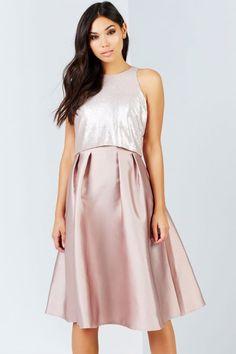 Little Mistress Mink Sequin Top Midi Dress