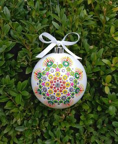 Bekijk dit items in mijn Etsy shop Christmas Mandala, Christmas Rock, Christmas Cards To Make, Diy Christmas Gifts, Picture Christmas Ornaments, Painted Christmas Ornaments, Christmas Bulbs, Ornament Crafts, Dot Painting