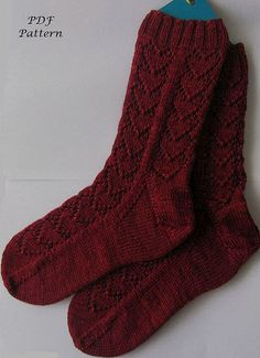 I like this sock pattern!    Knit Sock Pattern  Hearts Forever Socks by KnitsByJo on Etsy, $5.00