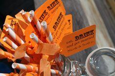 Orange Pixie Striped Paper Straws with Orange by decadentdesigns