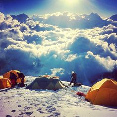 Camping above the clouds in the Himalayas.