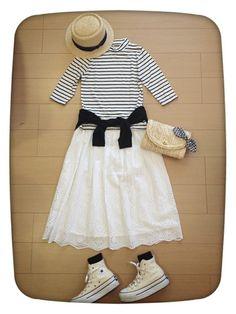 スカラップスカートに ハイカットコンバース合わすの好き♫。