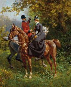 """Jules Didier """"Amazone et Cavalier à la Chasse""""."""