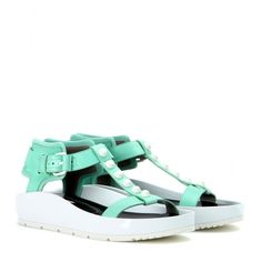 Classic Strap T Bar leather sandals in chlorophylle, Balenciaga