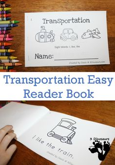 "Free Fun Transportation Easy Reader Book For Kids - 8 page book for early readers - <a href=""http://3Dinosaurs.com"" rel=""nofollow"" target=""_blank"">3Dinosaurs.com</a>"