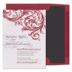 Scarlet Baroque Invitations - Jasmine & Woo (#109818) |  FineStationery.com