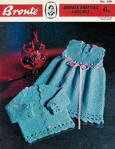 Vintage PDF Crochet Baby Pattern Bronte 656 DK by 1vintagescot, $1.75