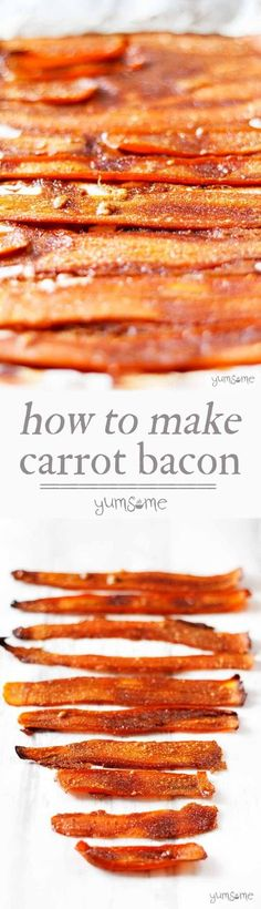 This delicious, easy-to-make vegan bacon substitute is made from carrots and five other store cupboard ingredients. Perfect for those who miss those crispy bacon rolls. This vegan alternative to bacon will keep all your vegan friends happy Veggie Recipes, Whole Food Recipes, Vegetarian Recipes, Cooking Recipes, Healthy Recipes, Dishes Recipes, Bacon Recipes, Healthy Snacks, Carrot Recipes