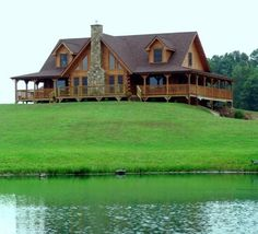 Log cabin house, gable roof with dormers, picture windows, and wrap around porch. Log Cabin Living, Log Cabin Homes, Log Cabins, Mountain Cabins, Log Cabin House Plans, Rustic Cabins, Mountain Homes, Log Home Floor Plans, Cabins And Cottages