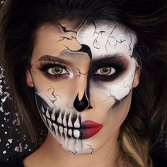 Cracked Glam Skull   Halloween tutorial is now live on my YouTube channel, direct link is in my bio!   Lashes - @lillylashes @lillyghalichi lashes in Miami #lillylashes (bought from @welovelashes ) #welovelashes  @anastasiabeverlyhills #dipbrow in medium brown and #liquidlipstick in blood line  @makeupgeekcosmetics 'corrupt' eyeshadow for the shading and black eye @sleekmakeup dip it liner #sleekmakeup to draw the teeth and cracks  #thebrush2
