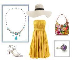 Tropical getaway look featuring Vanessa Mellet jewelry.