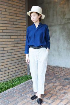 インディゴ染ヘンリーネックシャツ | YAECA(ヤエカ) – unitymarket-staffblog