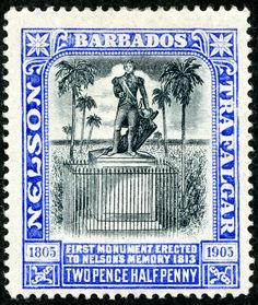 "Barbados  1906 Scott 106 2½d ultramarine & black ""Lord Nelson Monument""; Wmk 1"