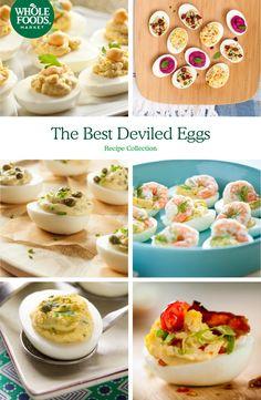The perfect deviled egg recipes for picnics, brunch or Easter celebrations. Lemon-Caper Deviled Eggs, Mediterranean Deviled Eggs, BLT Deviled Eggs and more!