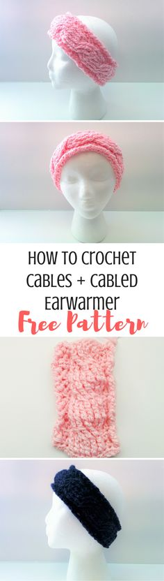 Learn how to crochet cables with this in depth tutorial and video! Plus, get a free pattern for a simple cabled earwarmer to practice one!