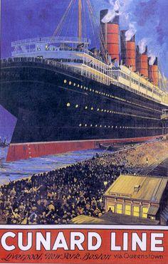 Cunard ocean liner photos | Ocean Liner Travel Poster - Cunard Line