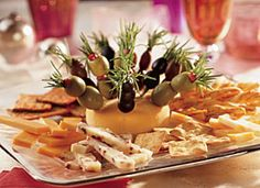 cheese tray with olives