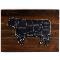 Classic and rustic this Black Cow on rustic background makes a great wall decor piece, perfect for the kitchen, breakfast room, or patio grill